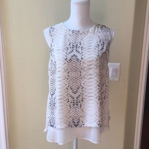 Rose & Olive Snakeskin Print Sheer Hem Top